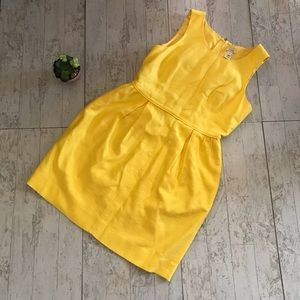 J Crew Yellow Empire Sheath Dress pockets size 8